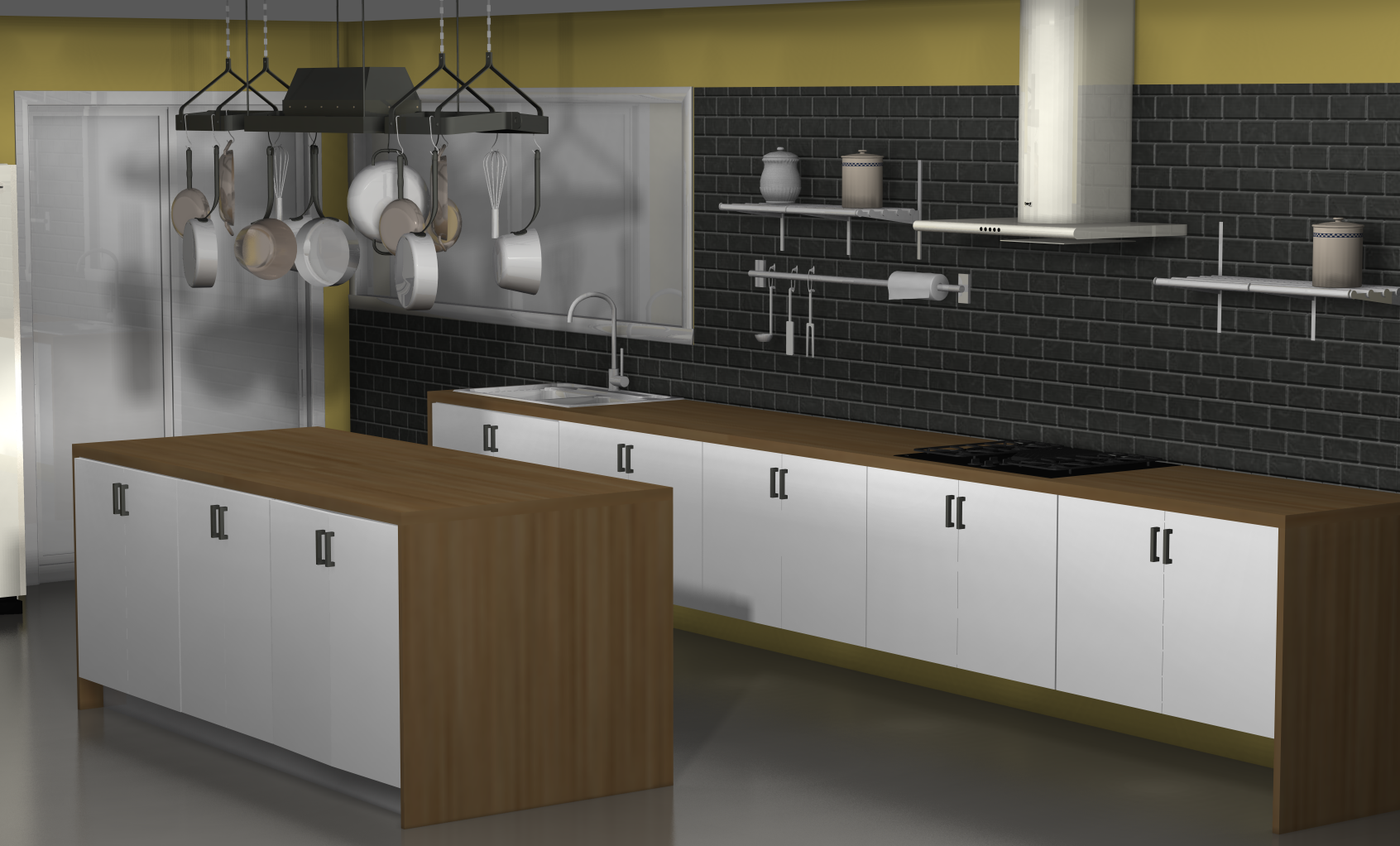 Kitchen design ideas an ikea kitchen with fewer wall cabinets for Kitchen without tiles