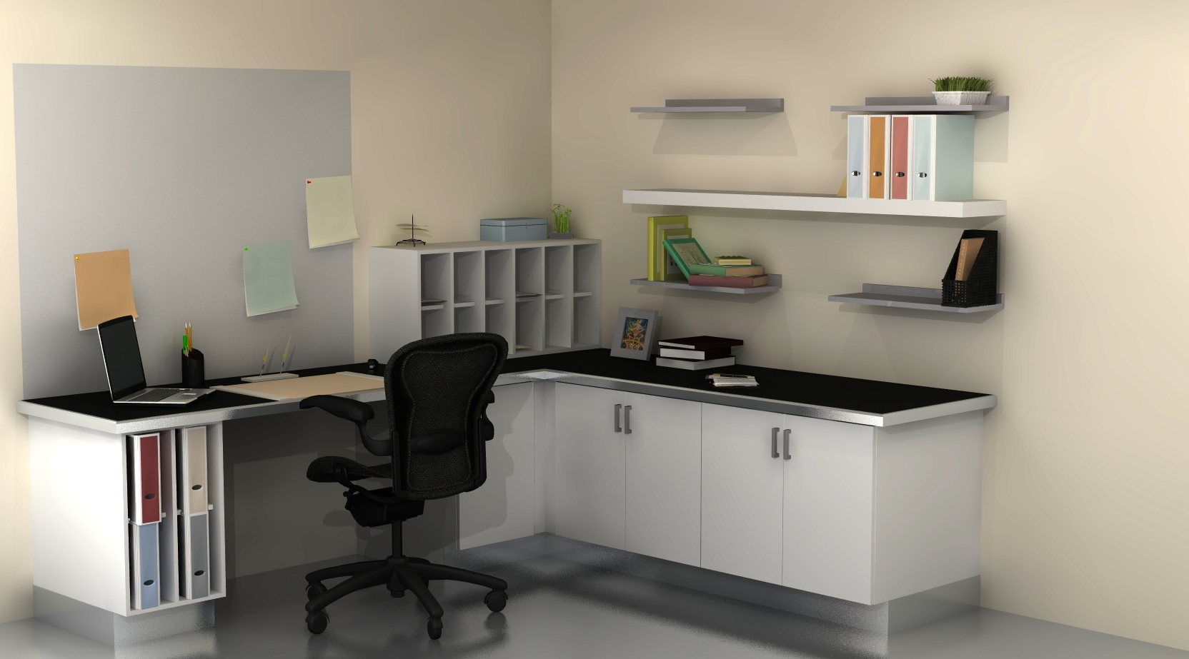 useful spaces a home office with ikea cabinets. Black Bedroom Furniture Sets. Home Design Ideas